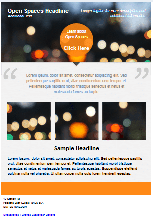 typical template used by newsletter copywriter